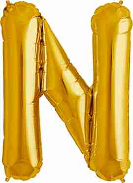 N Gold Foil Letter 16in/40cm