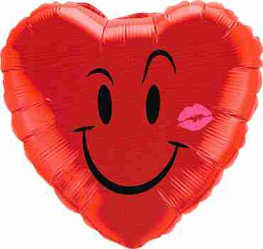 Naughty Smile and a Kiss Foil Heart 18in/45cm
