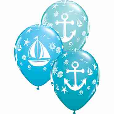 Nautical Sailboat and Anchor Fashion Caribbean Blue, Fashion Robins Egg Blue and Fashion Tropical Teal Assortment Latex Round 11in/27.5cm