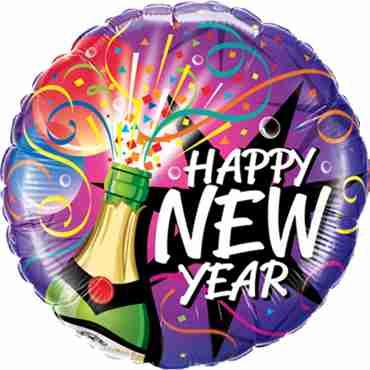 New Year - Sip, Sip Hooray Foil Round 18in/45cm