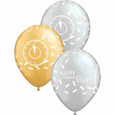 New Year Confetti Countdown Metallic Gold and Metalliic Silver Assortment Latex Round 11in/27.5cm