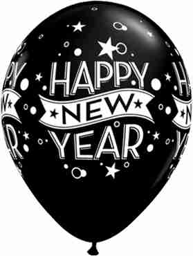 New Year Confetti Dots Fashion Onyx Black Latex Round 11in/27.5cm