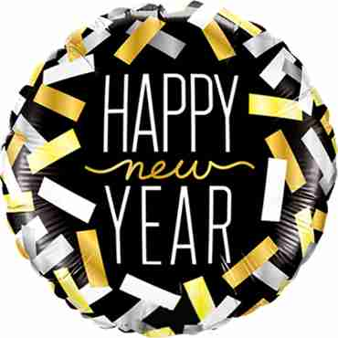 New Year Confetti Strips Foil Round 18in/45cm