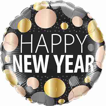 New Year Metallic Dots Foil Round 18in/45cm