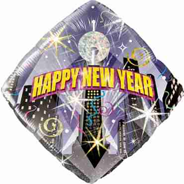 new year party countdown holographic foil diamond 18in/45cm