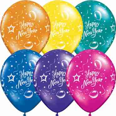 New Year Party Fantasy Assortment Latex Round 11in/27.5cm