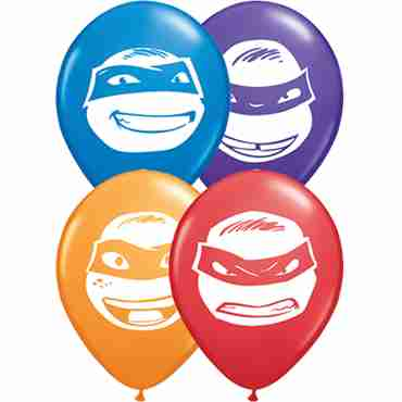 ninja turtle faces standard dark blue, standard red, standard orange and fashion purple violet assortment latex round 5in/12.5cm