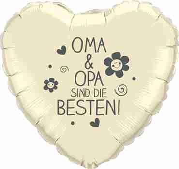 oma & opa sind die besten! ivory w/grey ink foil heart 18in/45cm