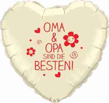 oma & opa sind die besten! ivory w/red ink foil heart 18in/45cm