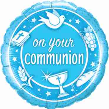 on your communion blue foil round 18in/45cm