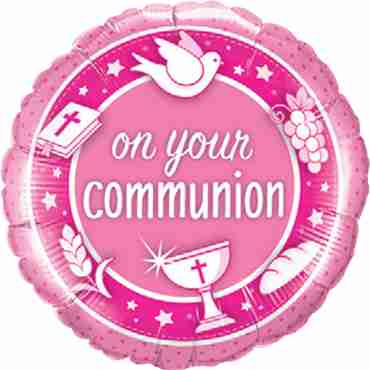 On Your Communion Pink Foil Round 18in/45cm