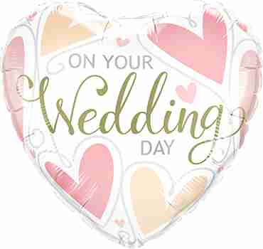 On Your Wedding Day Hearts Foil Heart 18in/45cm