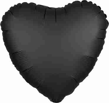 Onyx Satin Luxe Foil Heart 17in/43cm