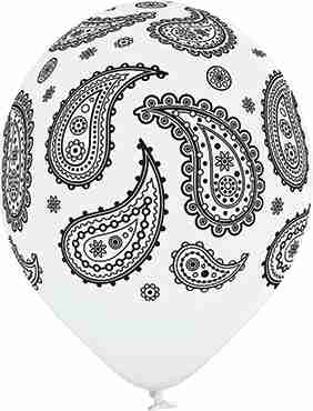 Paisley Pastel White Latex Round 12in/30cm