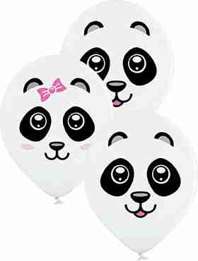 Pandas Pastel White Latex Round 12in/30cm