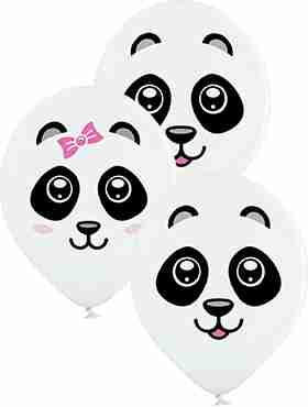 Pandas Pastel White Latex Round 12in/30cm