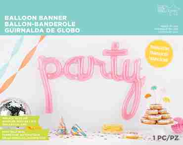 Party Script Pink 45in/114cm