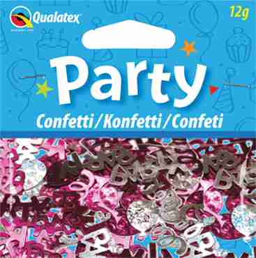 Party Swirls Pink and Silver Hearts Confetti 12g