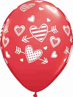 Patterned Hearts and Arrows Standard Red Latex Round 11in/27.5cm