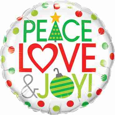 Peace Love and Joy! Foil Round 18in/45cm