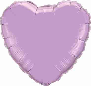 Pearl Lavender Foil Heart 4in/10cm