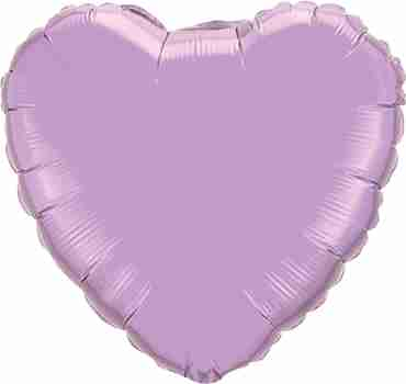 Pearl Lavender Foil Heart 9in/22.5cm