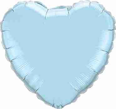 Pearl Light Blue Foil Heart 36in/90cm