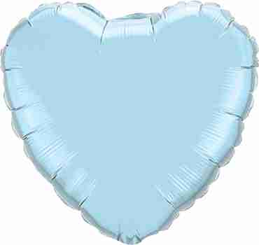 Pearl Light Blue Foil Heart 9in/22.5cm