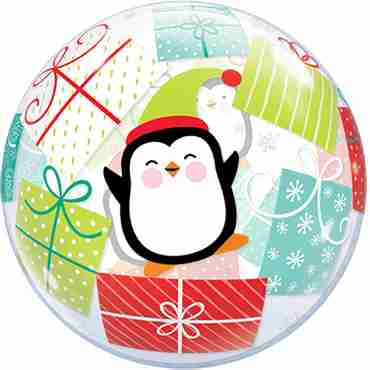 Penguins and Presents Single Bubble 22in/55cm