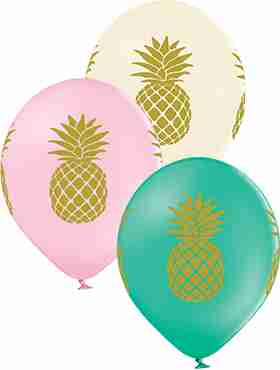 Pineapple Pastel Pink, Pastel Vanilla and Pastel Forest Green Assortment Latex Round 12in/30cm