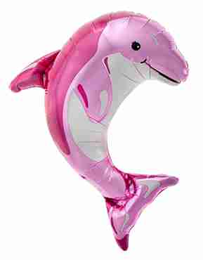 Pink Dolphin Foil Shape 14in/35cm