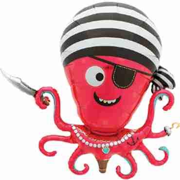 Pirate Octopus Foil Shape 35in/90cm