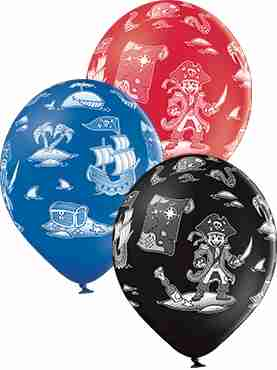 Pirate Pastel Red, Pastel Royal Blue and Pastel Black Assortment Latex Round 12in/30cm