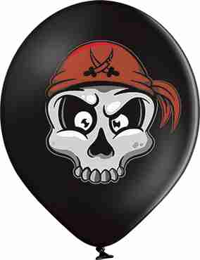 Pirate Skull Pastel Black Latex Round 12in/30cm