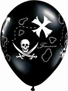 Pirates Treasure Map Fashion Onyx Black Latex Round 11in/27.5cm