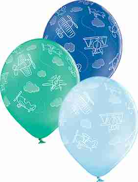 Planes Pastel Sky Blue, Pastel Forest Green and Pastel Royal Blue Assortment Latex Round 12in/30cm