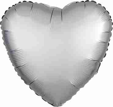 Platinum Satin Luxe Foil Heart 17in/43cm