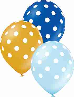 Polka Dots Boy Metallic Gold, Metallic Light Blue and Metallic Royal Blue Assortment Latex Round 12in/30cm