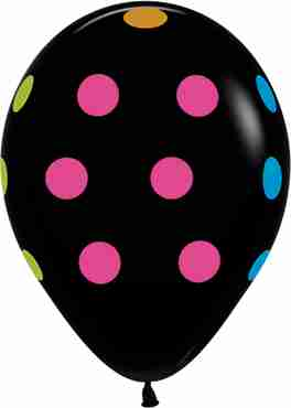 Polka Dots Neon Fashion Black Latex Round 11in/27.5cm