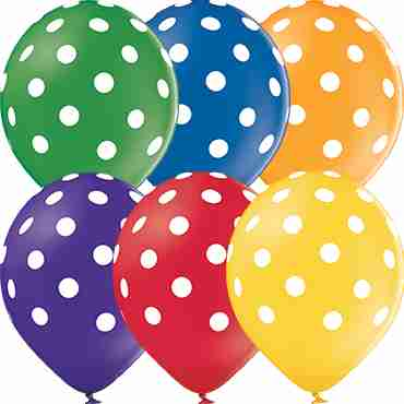 Polka Dots Pastel Leaf Green, Pastel Bright Yellow, Pastel Orange, Pastel Red, Pastel Royal Lilac and Pastel Royal Blue Assortment Latex Round 12in/30cm