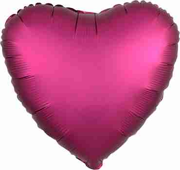 Pomegranate Satin Luxe Foil Heart 17in/43cm