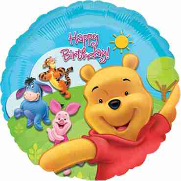 pooh and fiends sunny birthday foil round 18in/45cm