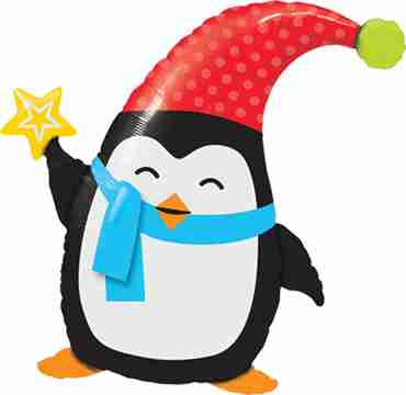 Popular Elfin Penguin Foil Shape 35in/89cm