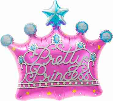 pretty princess crown foil shape 25in/64cm
