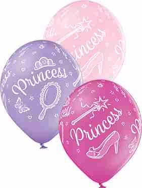 Princess Pastel Pink, Pastel Lavender and Pastel Rose Assortment Latex Round 12in/30cm