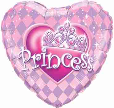 Princess Tiara Foil Heart 9in/22.5cm