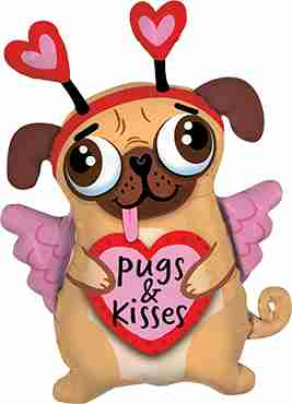 Pugs And Kisses Foil Shape 36in/91cm