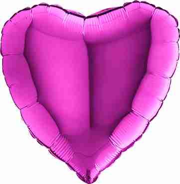 Purple Foil Heart 36in/90cm