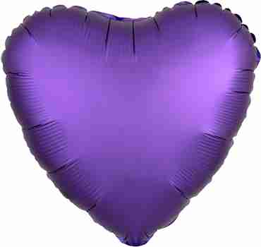 Purple Royale Satin Luxe Foil Heart 17in/43cm
