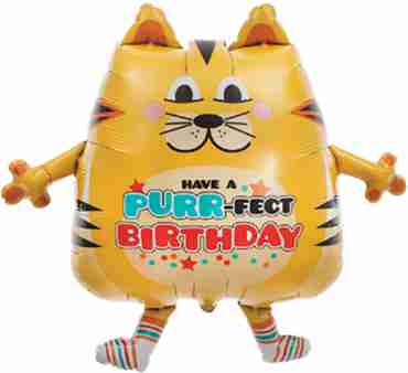 purrfect birthday cat foil shape 30in/76cm